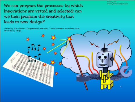 We can program the processes by which innovations are vetted and selected; can we then program the creativity that leads to new design?